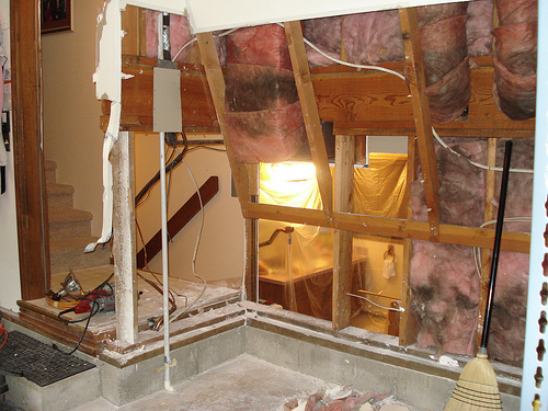 Bragg Construction removes damaged drywall exposing as part of this home repair