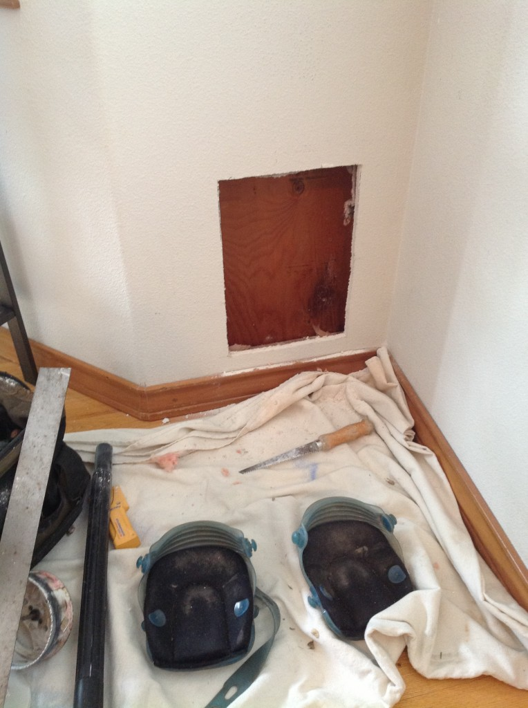 Cutting out drywall for custom pet door install in Portland, Oregon