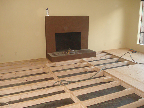 New subfloors being installed by Bragg Construction to make way for hardwood floors