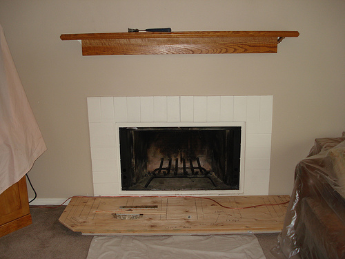 Granite Fireplace With New Mantle Bragg Construction