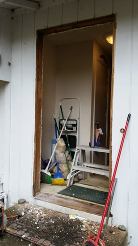 Before picture of an exterior door installation in oregon city oregon