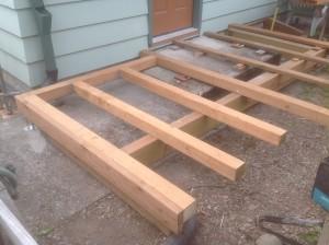 Cedar deck framing in Gladstone Oregon