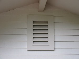close-up of finsihed attic vent added to Lake Oswego home