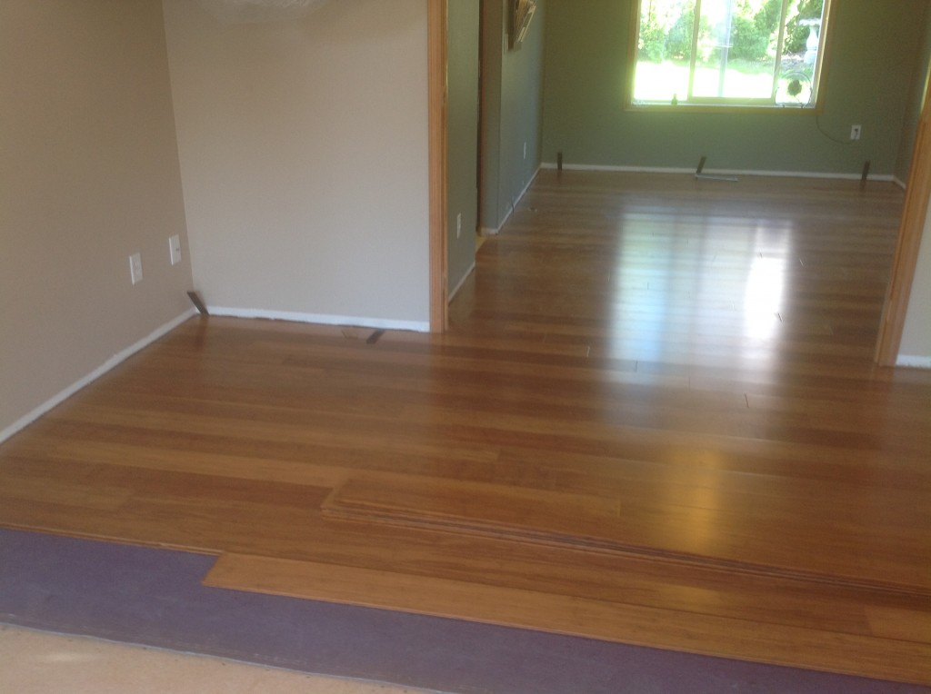 Completed bamboo floor installation in Gresham, Oregon by Bragg Construction