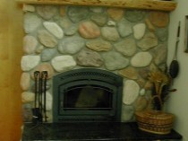Granite Hearth and Ponderosa Pine Mantle