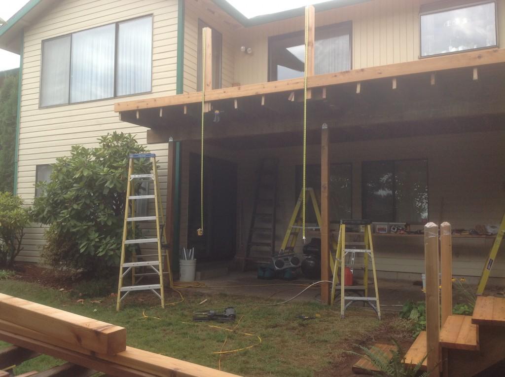 New cedar deck in progress by Bragg Construction