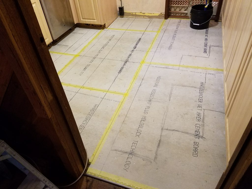 Cement board subflooring ready for tile