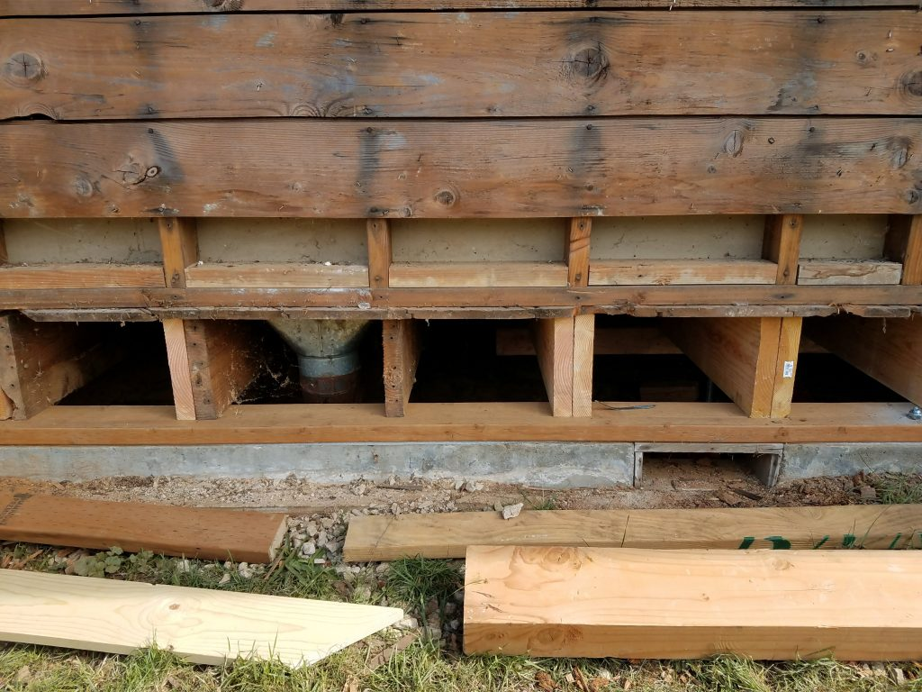 Straight On View Of The New Sill Plate And Floor Joists