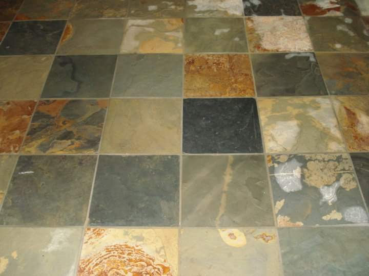 Silicone sealer is used to protect the slate flooring from damage